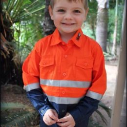 Quality hi-vis kids safety shirts for children l Hi-vis kids Shirt - Orange and Navy