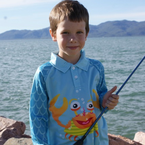 Quality sun safety shirts for children l Hi-vis kids - Carlos-the-Crab