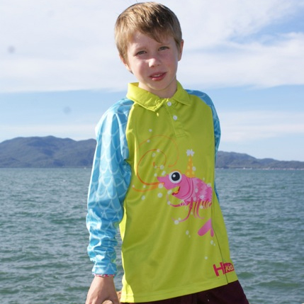Quality sun safety shirts for children l Hi-vis kids - Peppi-the-Prawn